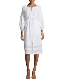 3/4-Sleeve Drawstring Tunic Dress, White