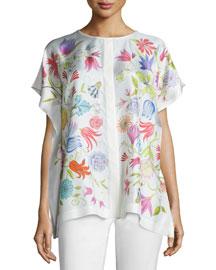 Cecily Garden-Print Trapeze Blouse, Floral/White