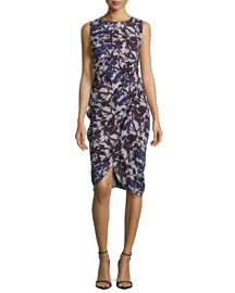 Sleeveless Floral-Print Draped Dress, Night