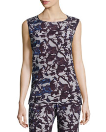 Sleeveless Floral Drape-Front Top, Night