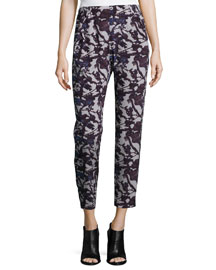Floral-Print Straight-Leg Pants, Night