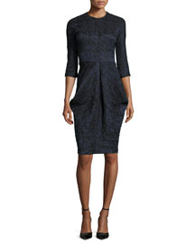 Floral Jacquard 3/4-Sleeve Dress, Black