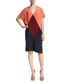 V-Neck Tri-Coloorblock Dolman-Sleeve Dress, Orange