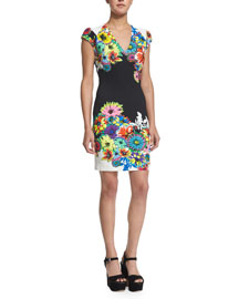 Cap-Sleeve Floral-Print Jersey Dress, White Pattern