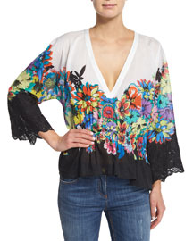 Floral-Print High-Low V-Neck Top, White Pattern