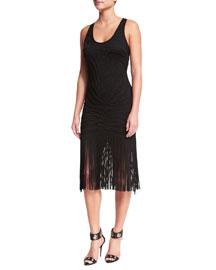 Sleeveless Fringe-Hem Tank Dress, Black
