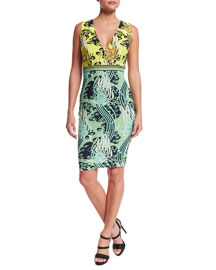 Sleeveless V-Neck Sheath Dress, Green