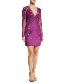Long-Sleeve Embellished Silk Lace Dress, Purple