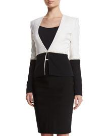 Pearly Bead-Embellished Bicolor Cady Jacket, Black/White