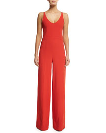 Sleeveless Open-Back Crepe Jumpsuit, Red