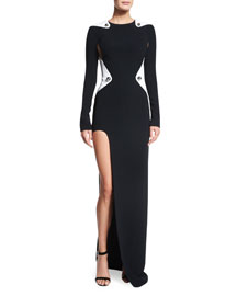 Bicolor Cady Long-Sleeve Gown, Black/White