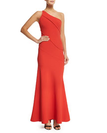 Asymmetric One-Shoulder Crepe Gown, Red