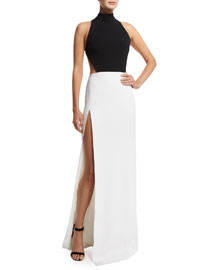 Bicolor Open-Back Mock-Neck Gown, Black/White