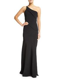 Asymmetric One-Shoulder Crepe Gown, Black