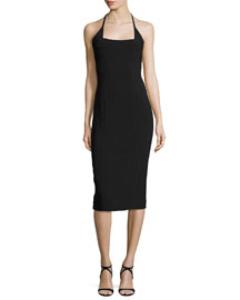 Square-Neck Halter Scuba Dress, Black