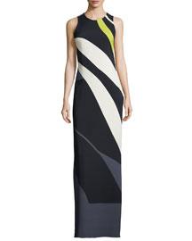 Sleeveless Striped Crepe/Chiffon Gown, Black