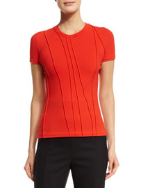 Pleated Short-Sleeve Jersey Top, Red