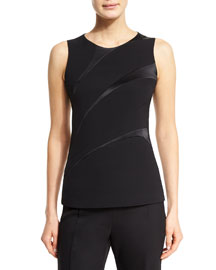 Sleeveless Asymmetric-Stripe Silk Top, Black
