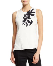 Sleeveless Seamed Silk Crepe Top, White