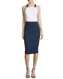 Colorblock Apron-Front Dress, Navy