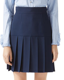 Silk-Wool Pleated Mini Skirt
