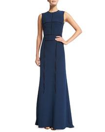 Sleeveless Silk-Crepe Taping Gown, Black/Navy