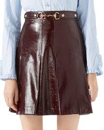 Light Patent Leather Pleated Skirt