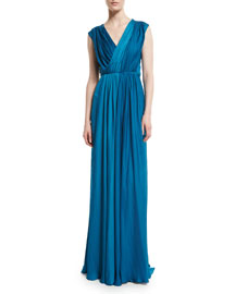 Ruched Satin V-Neck Gown, Turquoise