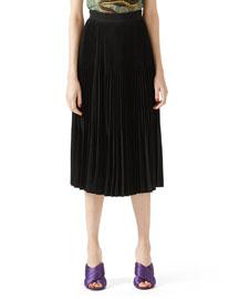 Silk Crepe Pleated Skirt