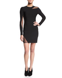 Cutout Mesh Long-Sleeve Mini Dress, Black