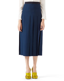 Wool-Silk Pleated Skirt