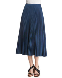Pleated Voile Midi Skirt, Navy