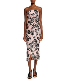 Strapless Wrap-Front Georgette Dress, Pink/Navy