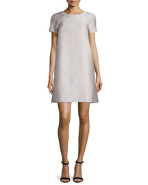 Raglan Short-Sleeve A-Line Dress, Silver
