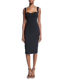 Fitted Matte Crepe Sheath Dress, Black