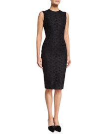Sleeveless Floral-Lace Sheath Dress, Black