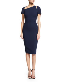 Short-Sleeve Matte Crepe Cutout Dress, Navy