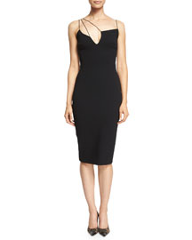 Sleeveless Matte Crepe Shoulder-String Sheath Dress, Black