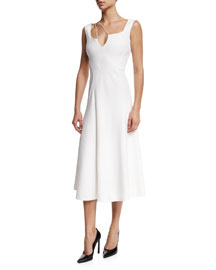 Sleeveless Shoulder-String Cady Midi Dress, White