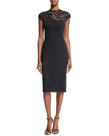 Cap-Sleeve Corded Lace Sheath Dress, Black