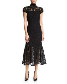 Cap-Sleeve Mock-Neck Lace Midi Dress, Black