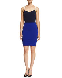 Sleeveless Fitted Colorblock Cami Dress, Navy