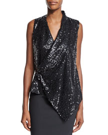 Sleeveless Embellished Draped Top, Black