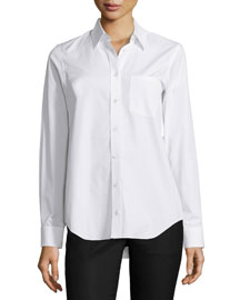 Cinched-Back Long-Sleeve Blouse, White