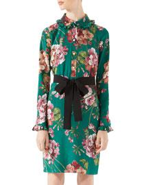 Blooms Print Silk Shirt Dress