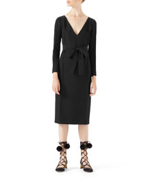 Wool-Silk Belted Dress, Black
