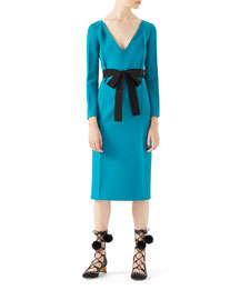 Wool-Silk Belted Dress, Cyan