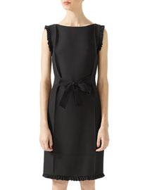 Wool-Silk Belted Dress