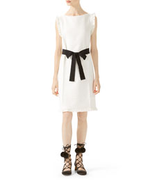 Wool-Silk Belted Dress