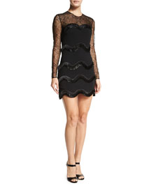 Long-Sleeve Wave-Embroidered Dress, Black